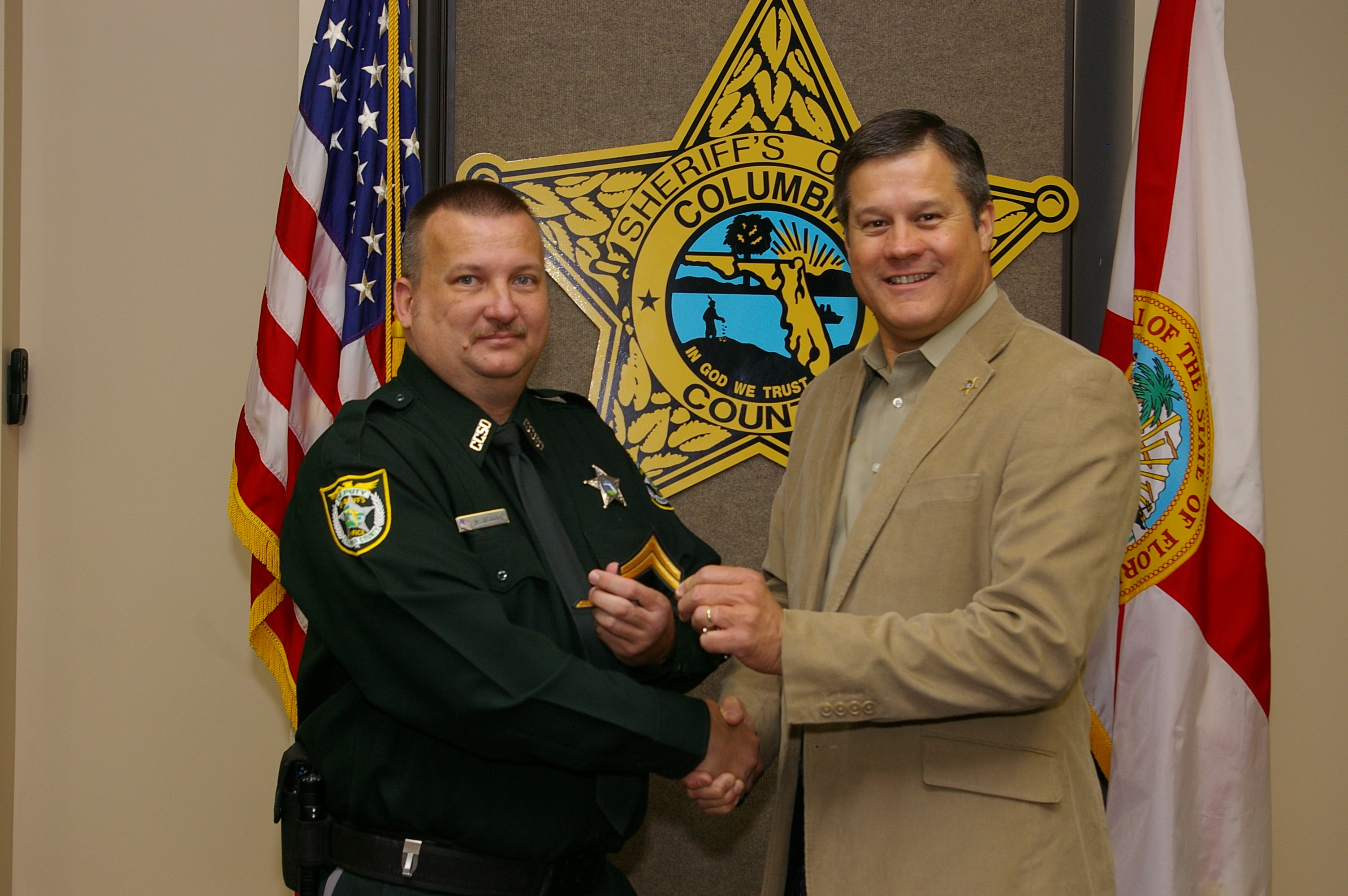 Corporal Michael Stancil and Sheriff Mark Hunter