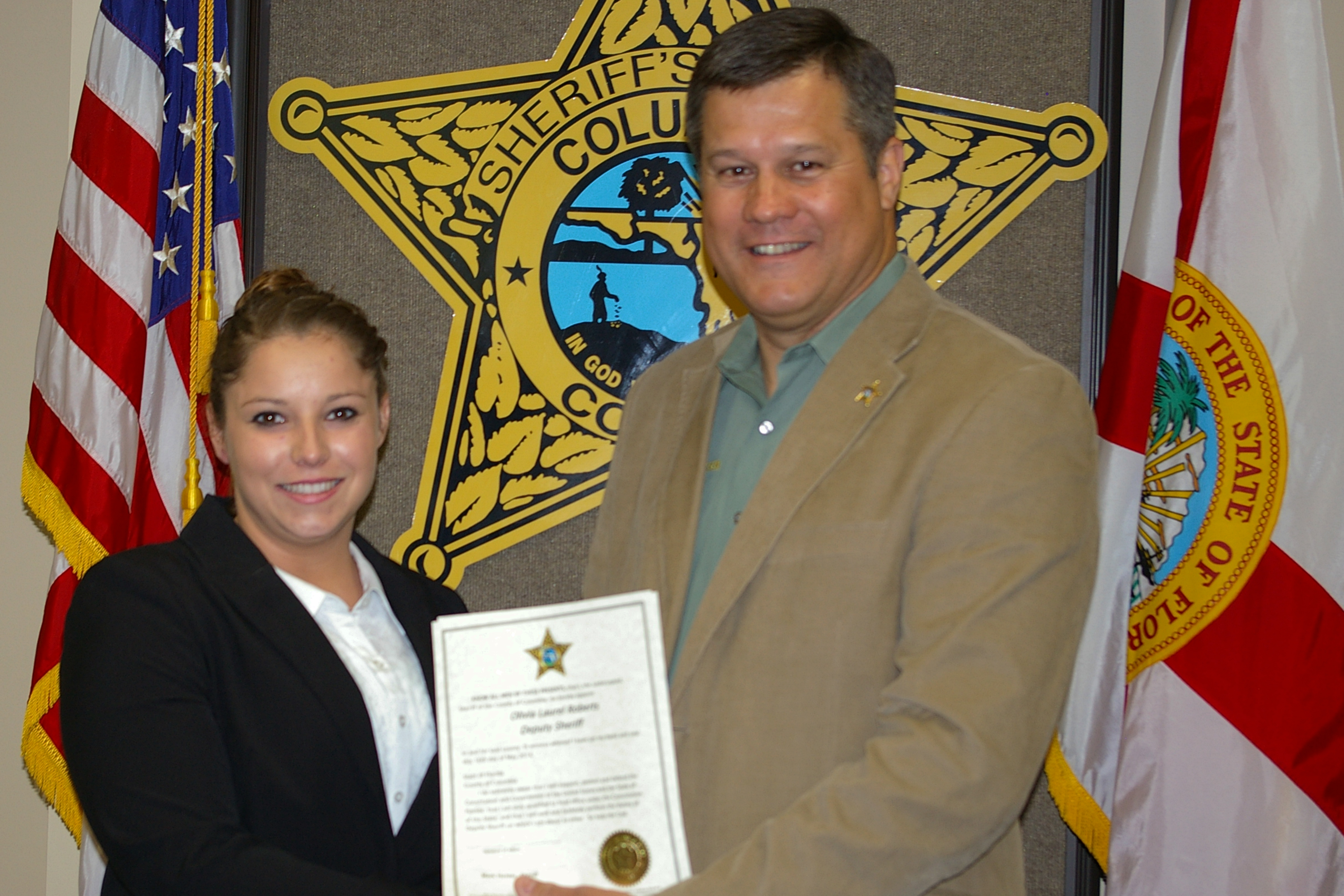 Deputy Sheriff Olivia Roberts and Sheriff Mark Hunter
