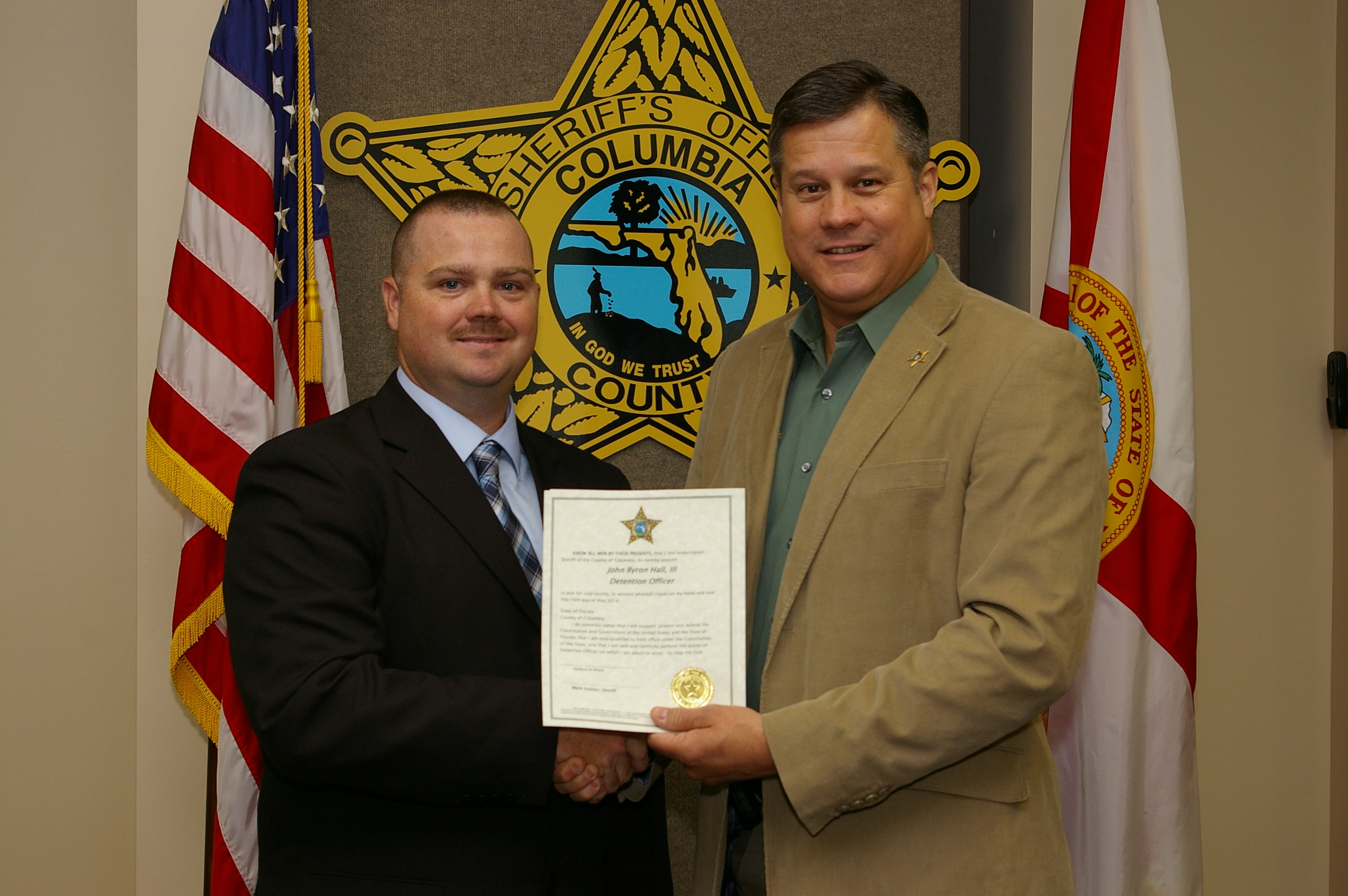 Detention Deputy John Hall and Sheriff Mark Hunter
