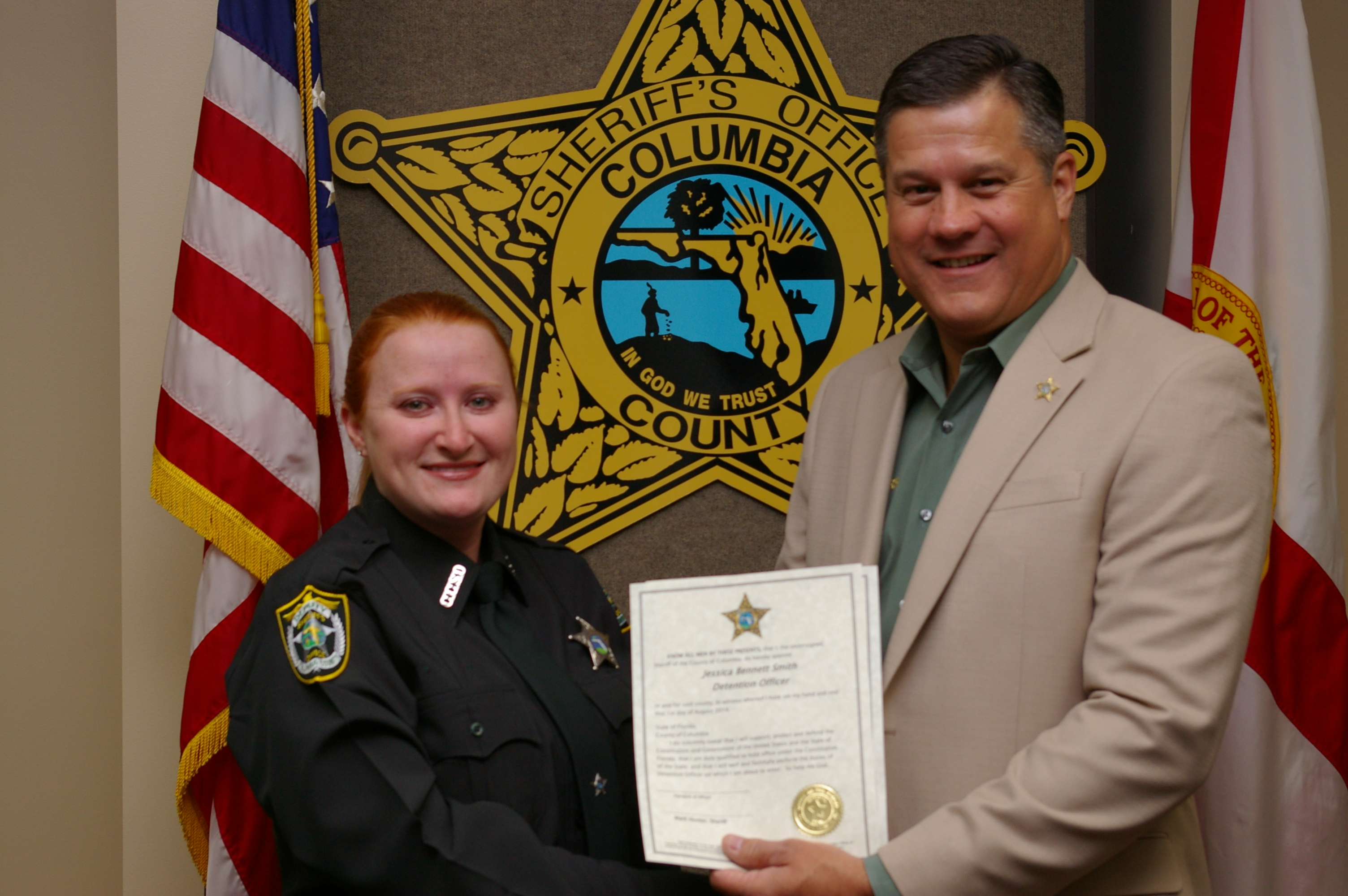 Detention Deputy Jessica Smith and Sheriff Mark Hunter