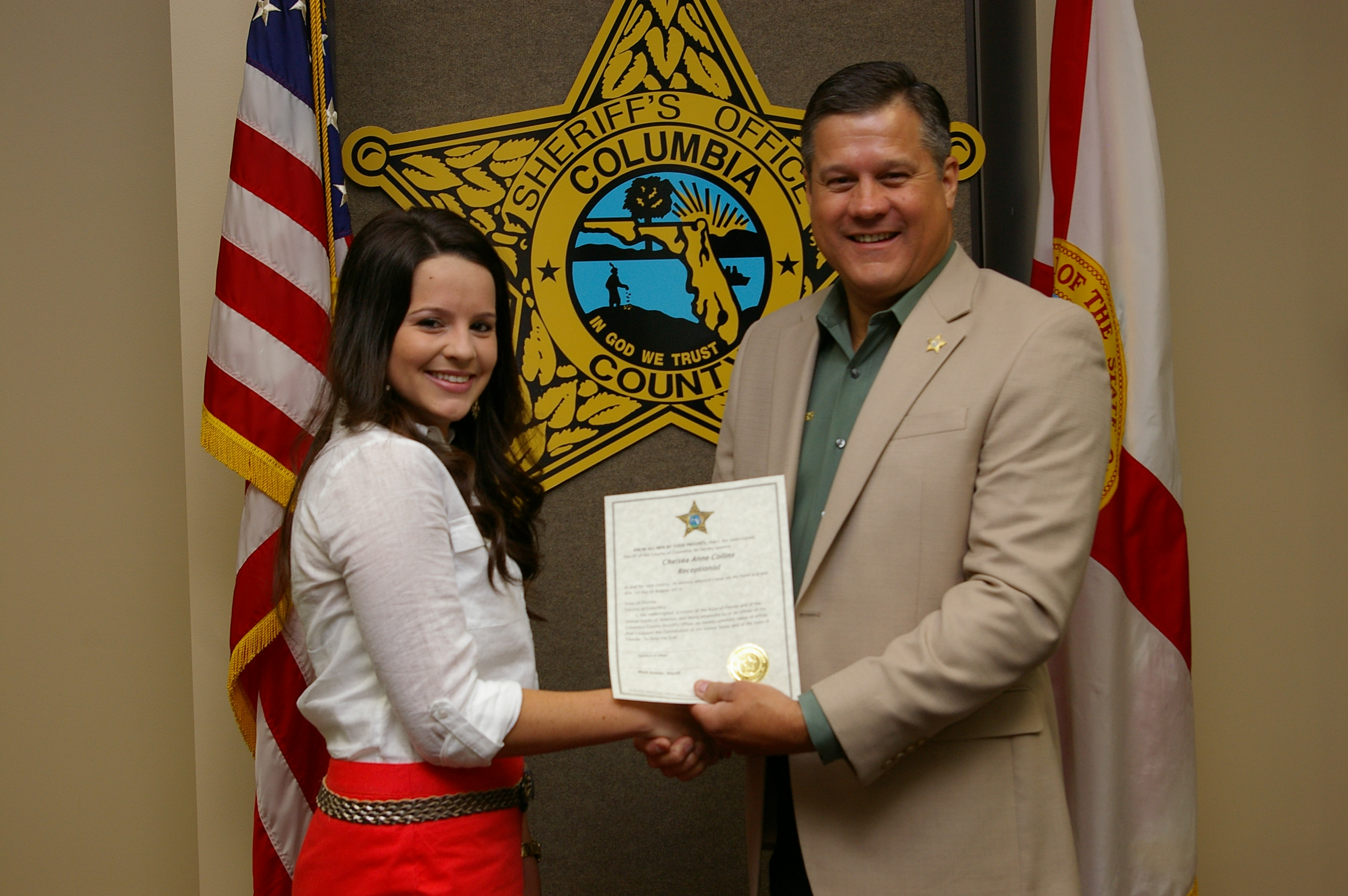Ms. Chelsea Collins and Sheriff Mark Hunter