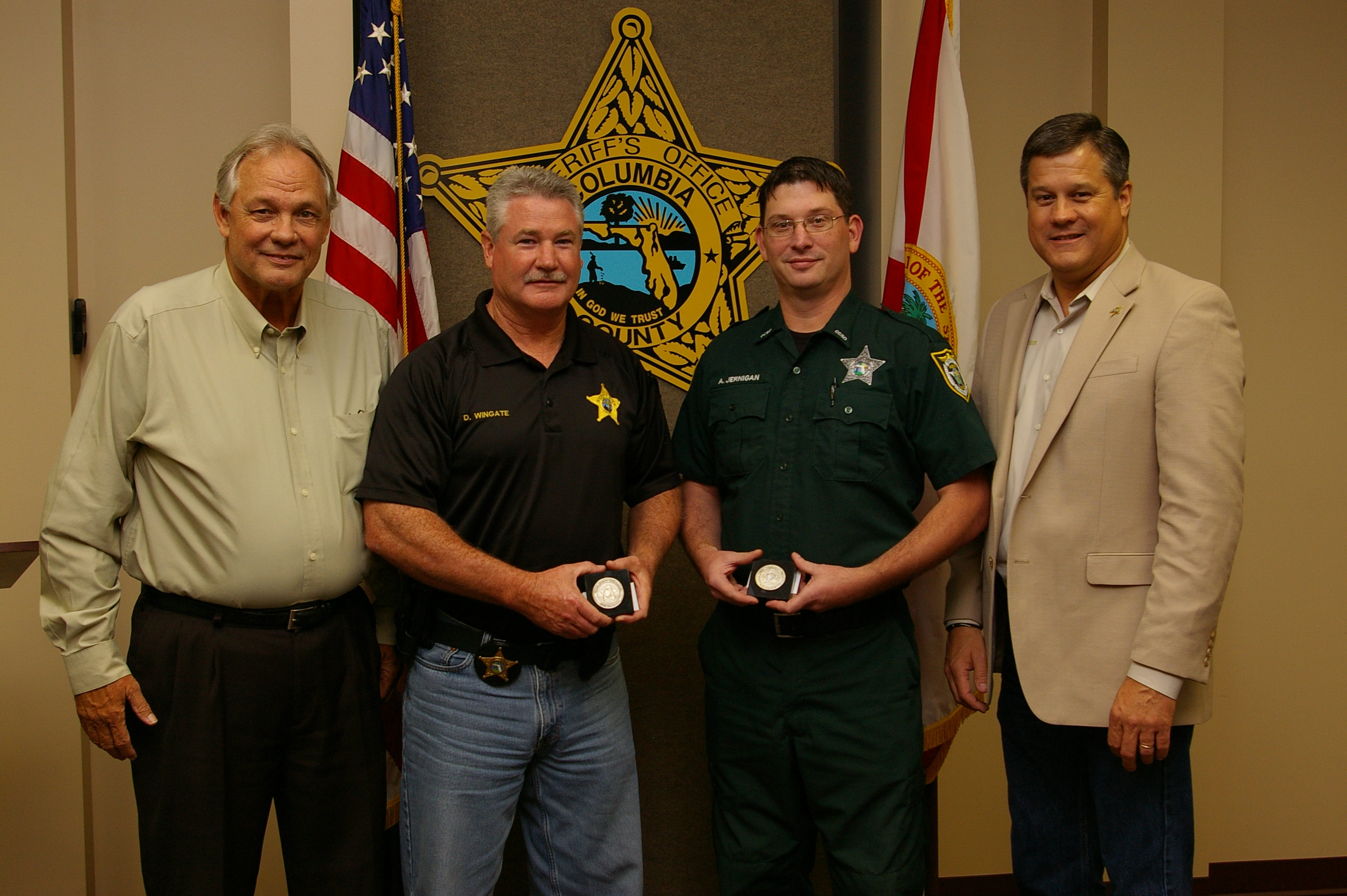 Mike Heller, Captain David Wingate, Detention Deputy Adam Jernigan, and Sheriff Mark Hunter (Ms. Holly Castagna was not available at time of photo)