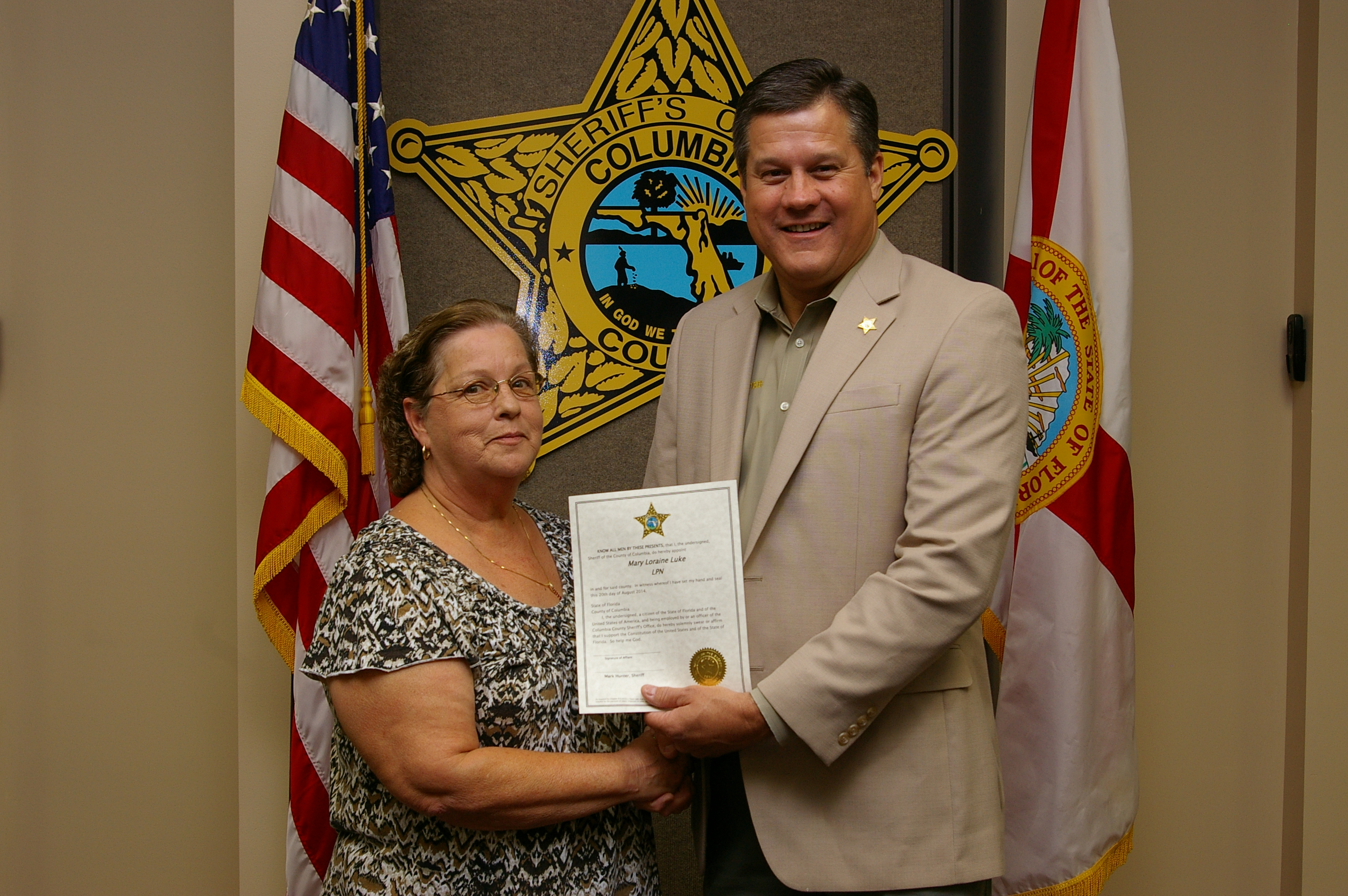 Ms. Mary Luke and Sheriff Mark Hunter