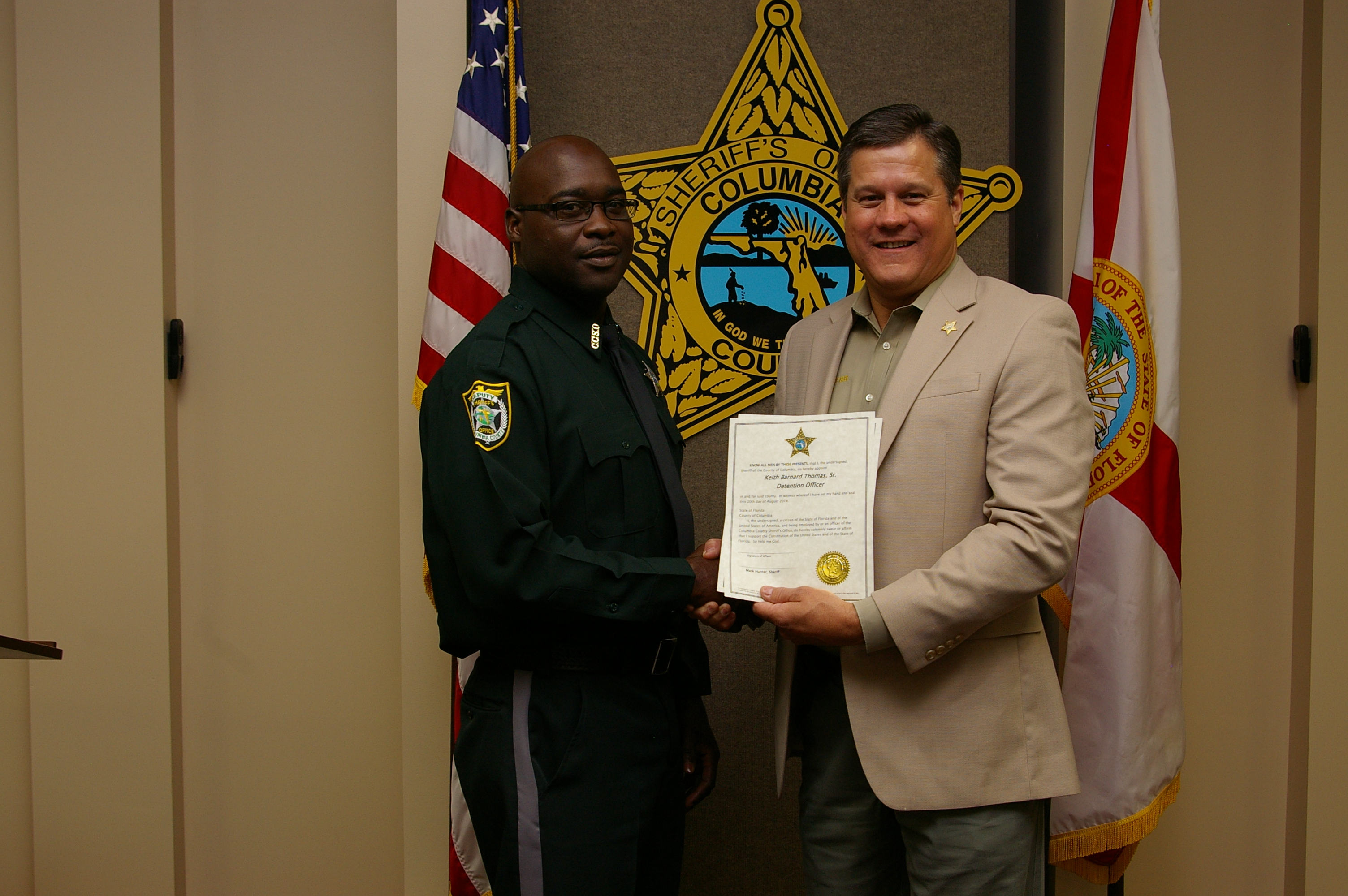 Detention Deputy Keith Thomas  and Sheriff Mark Hunter
