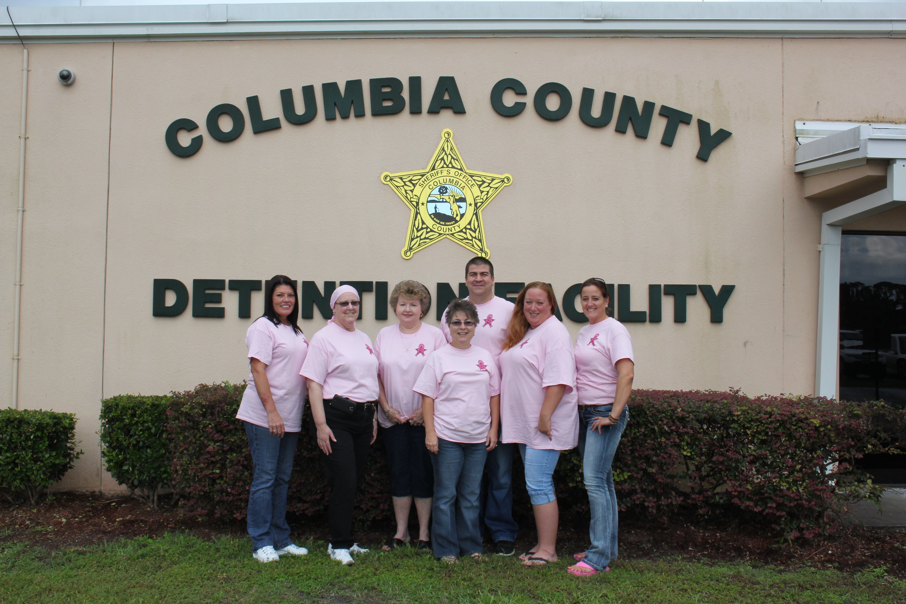 The jail folks proudly wearing pink!!!