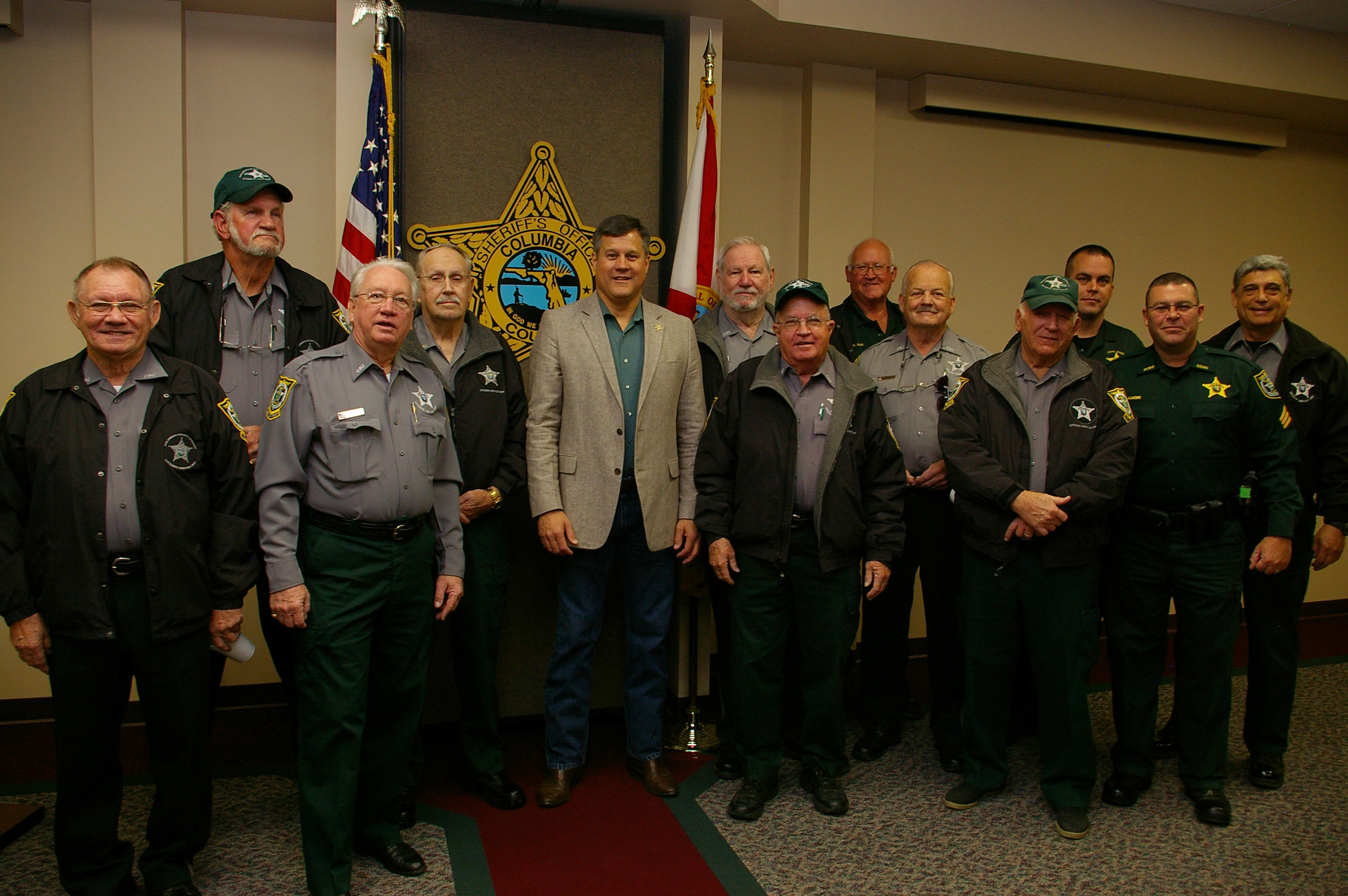 Sheriff Mark Hunter and Sergeant Rick Damon with the CSU members