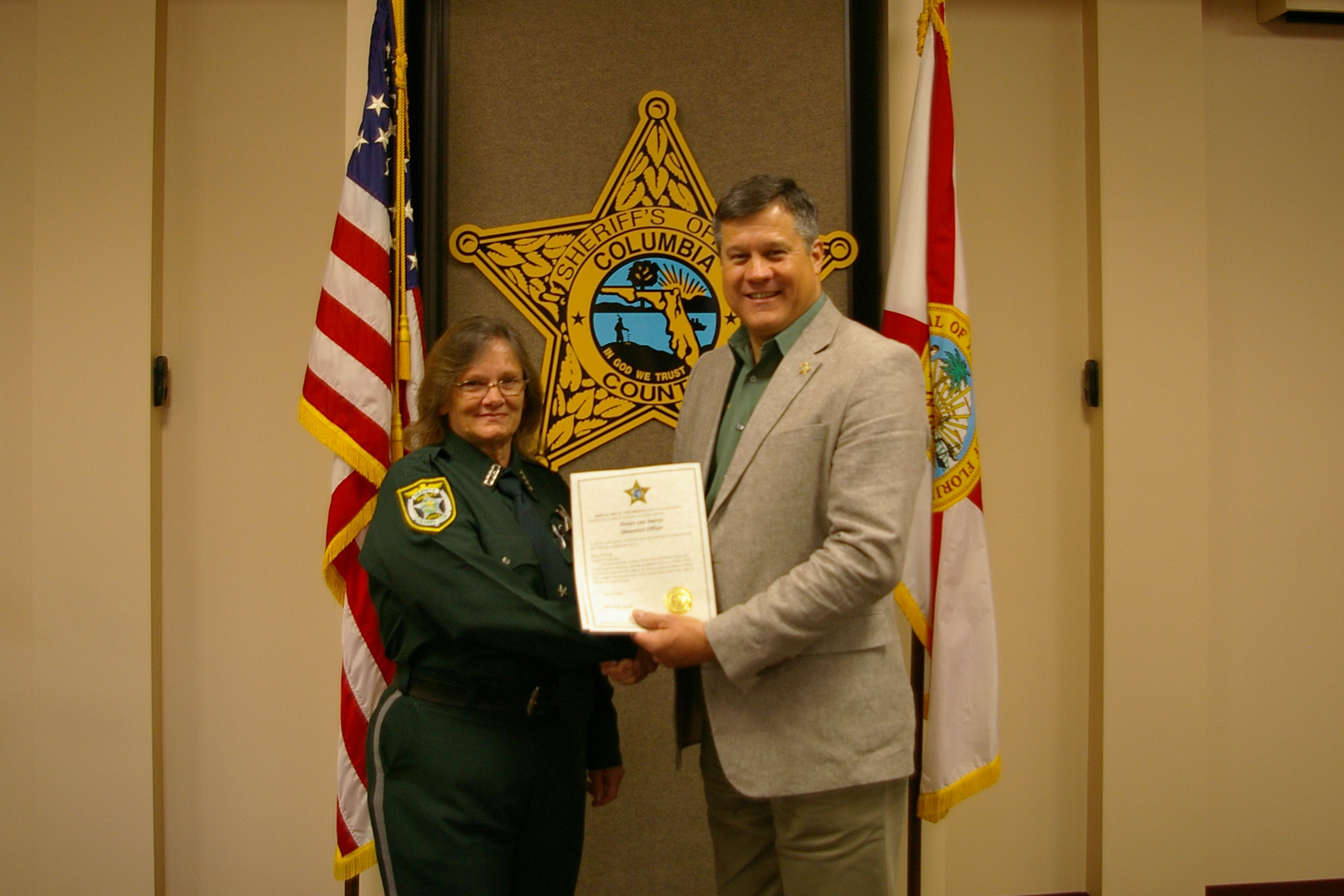 Detention Deputy Evelyn Searcy and Sheriff Mark Hunter