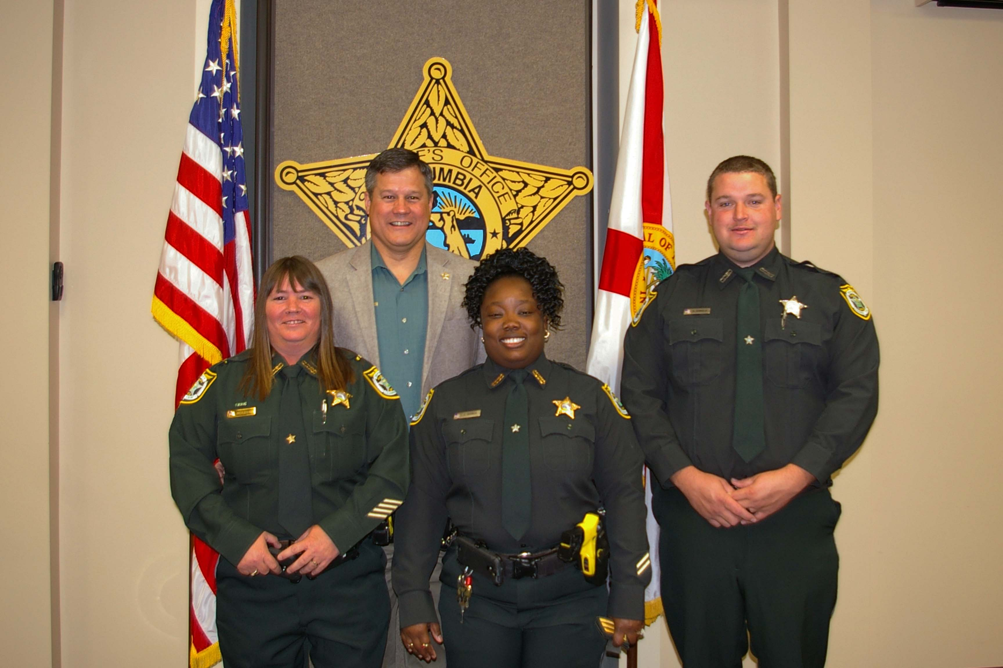 Sheriff Mark Hunter with Lt. Holly Castagna, Sgt. Tocarra Gainer, and Cpl. Ronnie Daniels