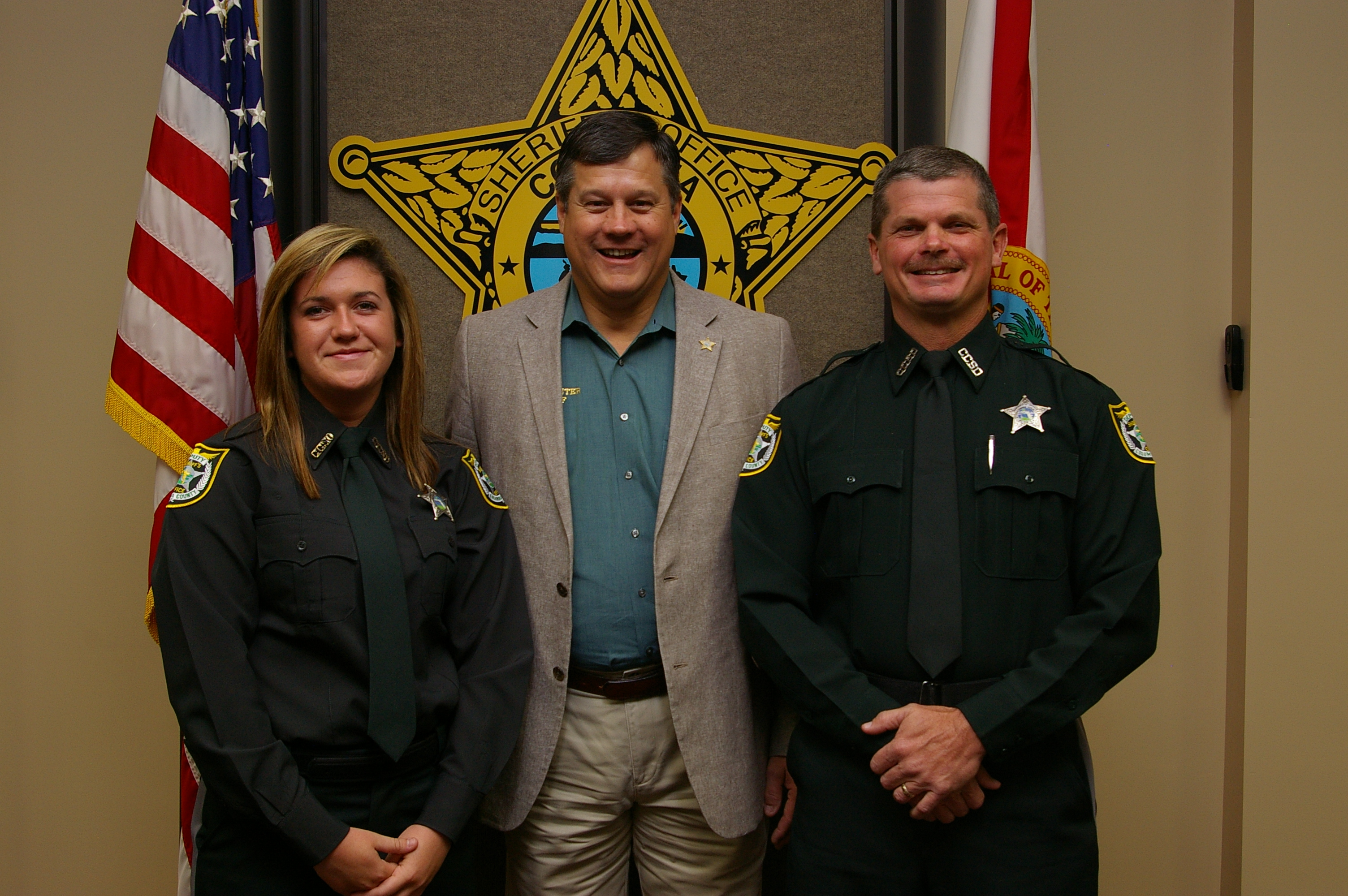 Detention Deputy Mackenzie Guerra, Sheriff Mark Hunter and Detention Deputy Anson Johnson