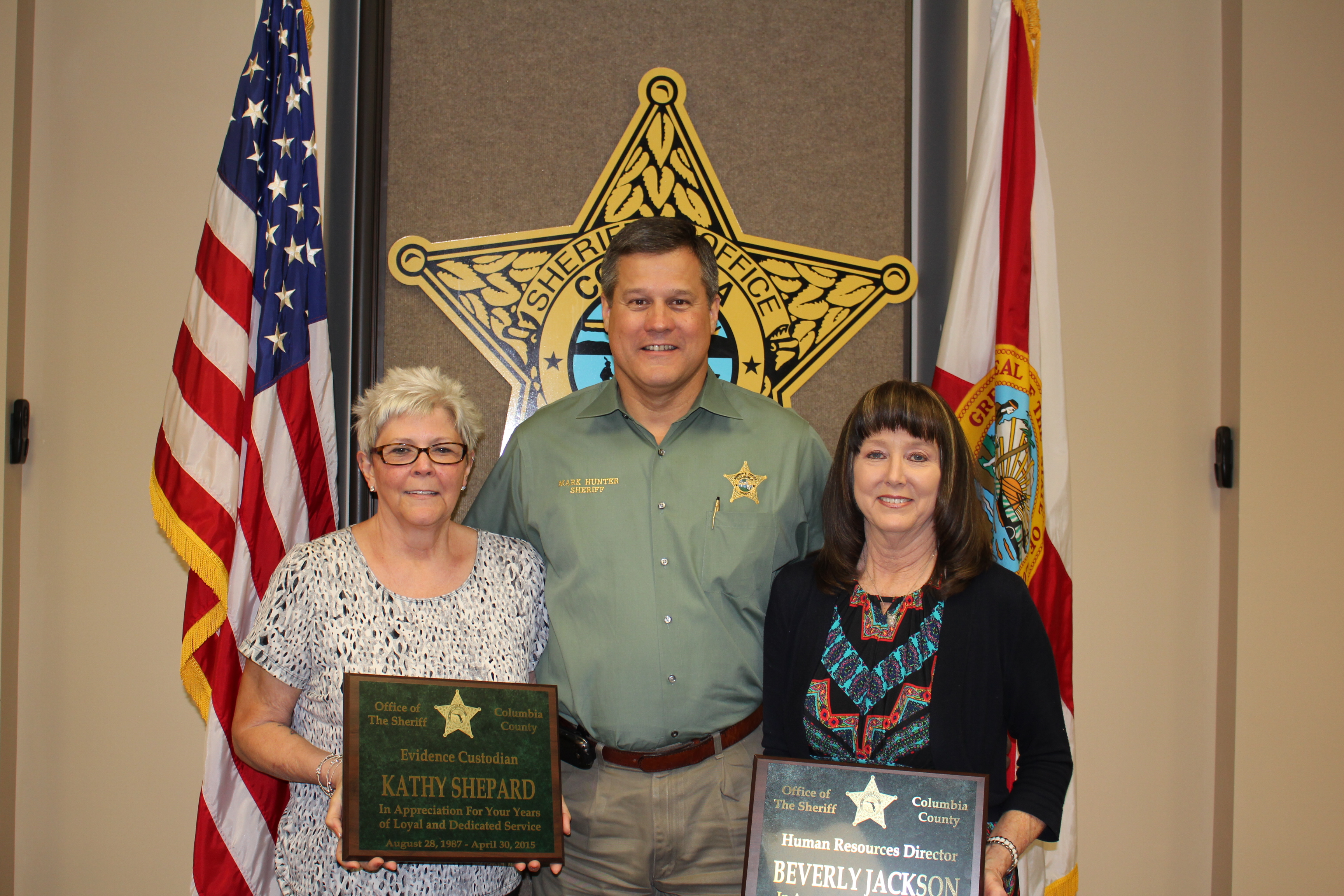 Ms. Kathy Shepard, Sheriff Mark Hunter, and Ms. Beverly Jackson