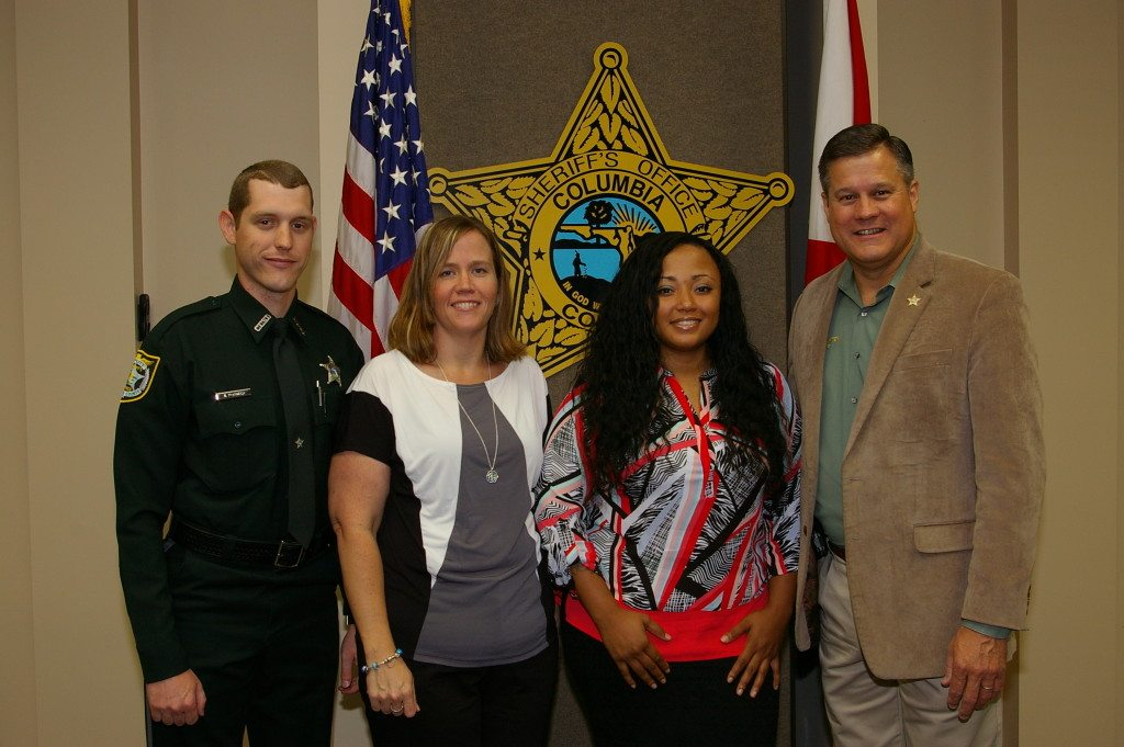 Detention Deputy Justin Porter, Mrs. Stephanie Massey ,Deputy Ranisha Williams, and Sheriff Mark Hunter