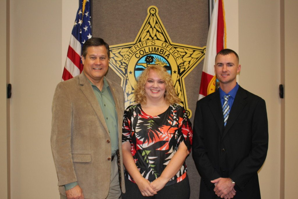 Sheriff Mark Hunter, Ms. Katherine Milligan and Deputy Jordy Stewart