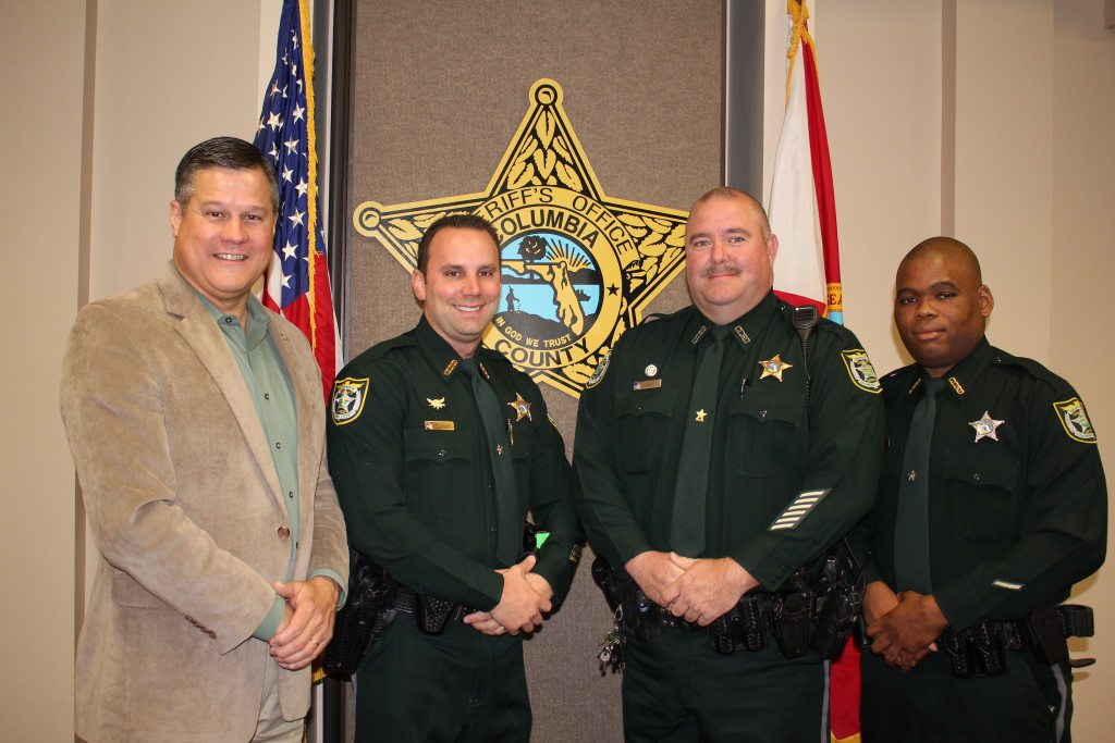 Sheriff Mark Hunter, Lieutenant Tood Lussier, Sergeant Clint Dicks, and Corporal Martin Lee