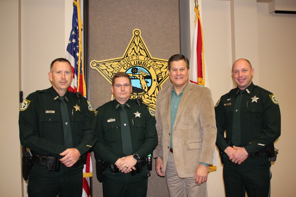 Sergeant Sean Sikes, Corporal Patrick Ross, Sheriff Mark Hunter and Corporal Archie Crews